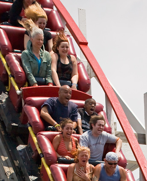 These people were on the largest drop of the Coney Island Cyclone Roller Coaster.