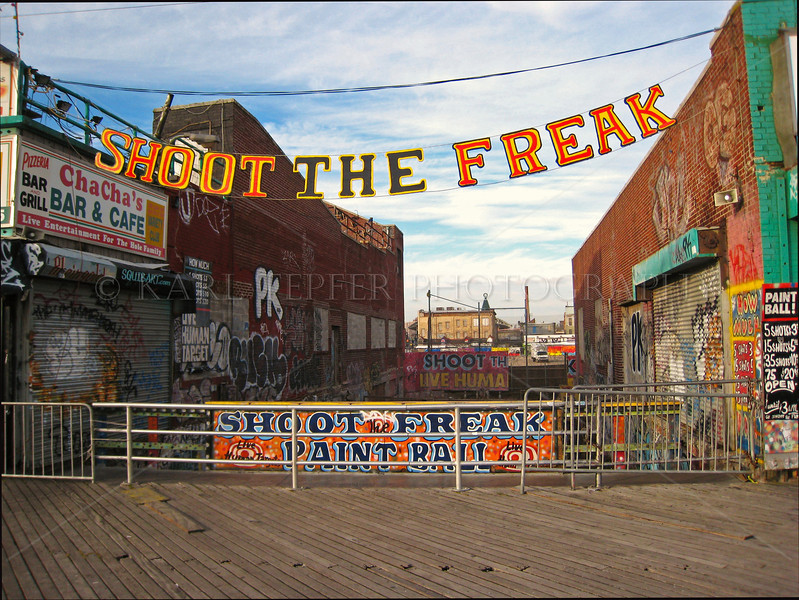 Shoot the Freak.  <br /> Coney Island Boardwalk January 13, 2006.<br /> Bulldozed 12/23/10 by the huge Zamperla corporation.<br /> ChaCha's and other vintage attractions also at risk.