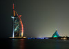 <h2>Burj al Arab and the Jumeirah Beach Hotel Lighting changes gradually as the night progresses.  Spectacular sight.