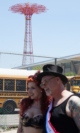 Dick Zigun and the Queen of the Mermaid Parade! Background: the Parachute Jump