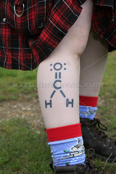 This young lady said she wanted to be a mortician and that this tattoo was the chemical symbol for formaldehyde.