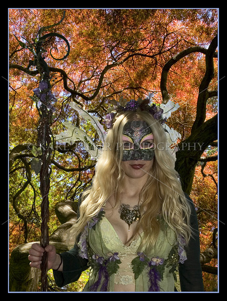"May be hard to notice, but she did have wings on.  Can be seen on the left side of the picture. ""Beltane""  "" Witch"""