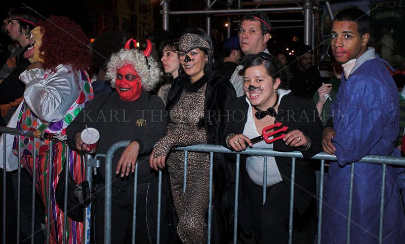 Typical parade watchers New York City Halloween Parade, 2006.