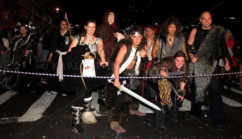 """At the """"starting line"""" ready to enter the parade New York City Halloween Parade, 2006."""