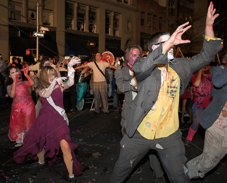 """Great costumes and moving to """"Thriller"""" blasting in the background.  I think these same people were at the Mermaid Parade in Coney Island.  Very creative.... New York City Halloween Parade, 2006."""