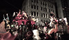 """This was a more """"typical"""" float: many people in very interesting constumes looking quite serious.  This is a preliminary posting, the original image is much clearer and I need to zoom it in more to display the facial expressions. New York City Halloween Parade, 2006."""