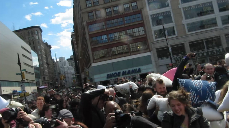 THIS is a VIDEO, as are the next two.  Simply click on them to play. Very brief, taken at start of pillowfight, actually before it got even more wild!   Couldn't leave camera out too long due to fear of damage to either it or me.
