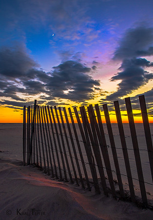 Jones Beach Sunset and rising Quarter Moon
