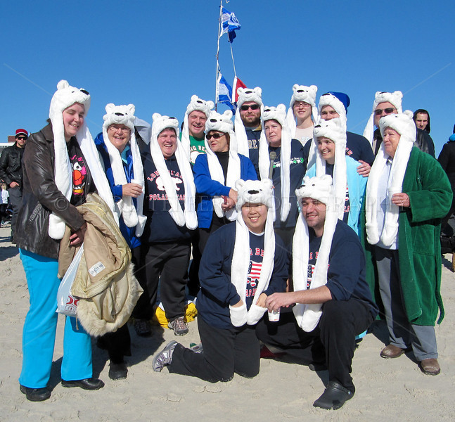 <h2>  These were either a bunch of Judges who flew in from England for the swim, or a group of locals wearing silly hats.