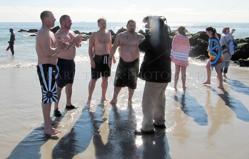 A television interview, while standing in very cold water