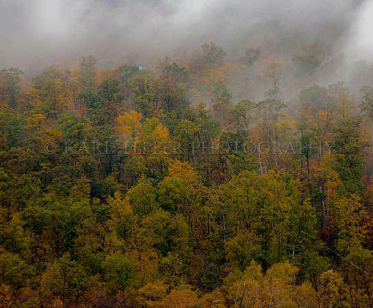 Early morning mist on Mt. Tabor, Vermont Fall foliage