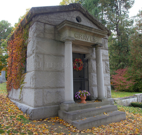"Mausoleum, Old First Church Bennington, Vermont Fall colors cllinging on outside Robert Frost was buried a few feet away, but I kept ""focusing"" on this Mausoleum due to the ironic name."