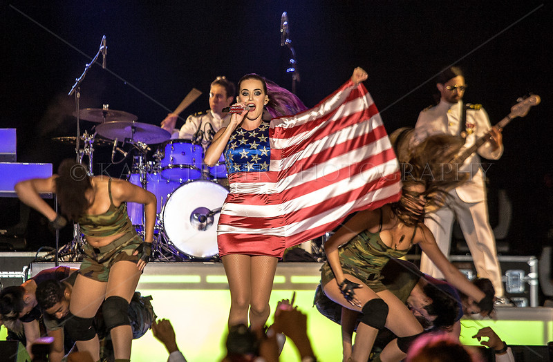 Katy Perry in her American Flag outfit.
