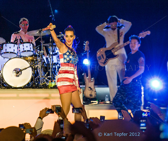"Katy Perry. She seems to looking at me thinking: ""Hey Karl, why I didn't you bring your guitar and play onstage with me?"" (Or perhaps me being in the sun all day and schlepping 60 pounds of photo equipment was having an impact on my thought process?)"