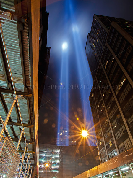 The Tribute in Light was placed on the top level of a parking garage this year (9/11/11) due to active construction at Ground Zero. Ground Zero directly behind me when taking this shot.
