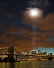 Light Tribute 9/11 in 2006 from Brooklyn side.  The clouds rolled in, and the light appeared to form a heart in the clouds..... No enhancement or post-processing done on this image.
