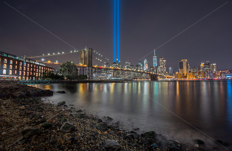Light Tribute from edge of East River: 9/11/17
