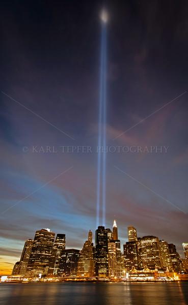 Light Tribute 2010. Taken from Pier 1, new park at base of Brooklyn Bridge. Dusk.