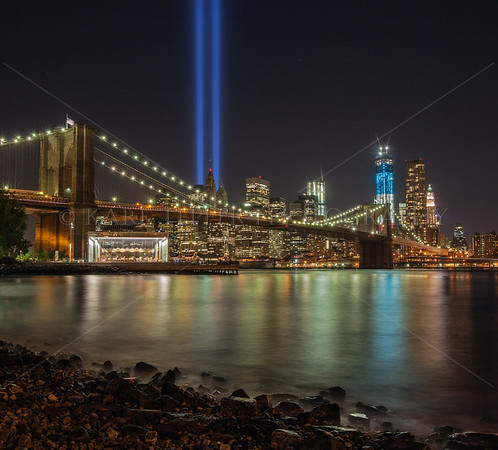 Tribute in Light 2012: Brooklyn Bridge. Jane's Carousel, East River and the Freedom Tower