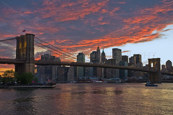 "Sunset on the night of the Brooklyn Bridge 125th Birthday Celebration: May 22, 2008. Couldn't have asked for a more colorful prelude to the fireworks! 12""x18"" print size."