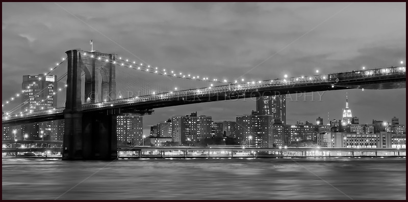 Two New York City Icons:  The Brooklyn Bridge framing the Empire State Building.  September 17th, 2010.