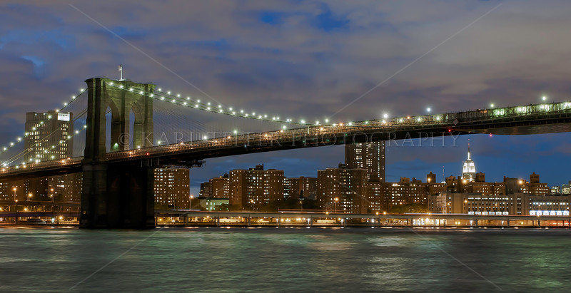Dusk  Brooklyn Bridge, East, River, Empire State Building in background