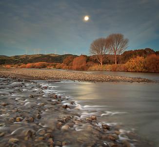 Moon Rise Over The Manawatu River