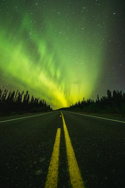 Aurora Borealis on the Highway