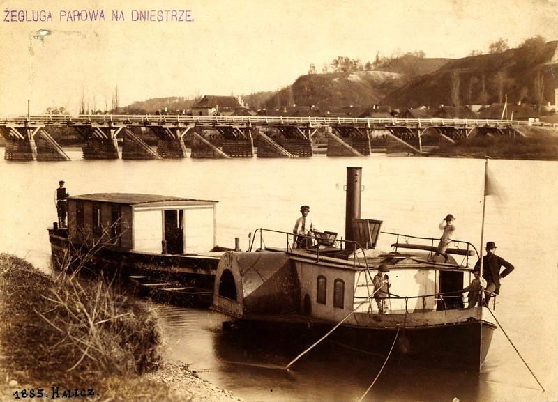 1885. Галич. Дністер., Пароплав з баржею