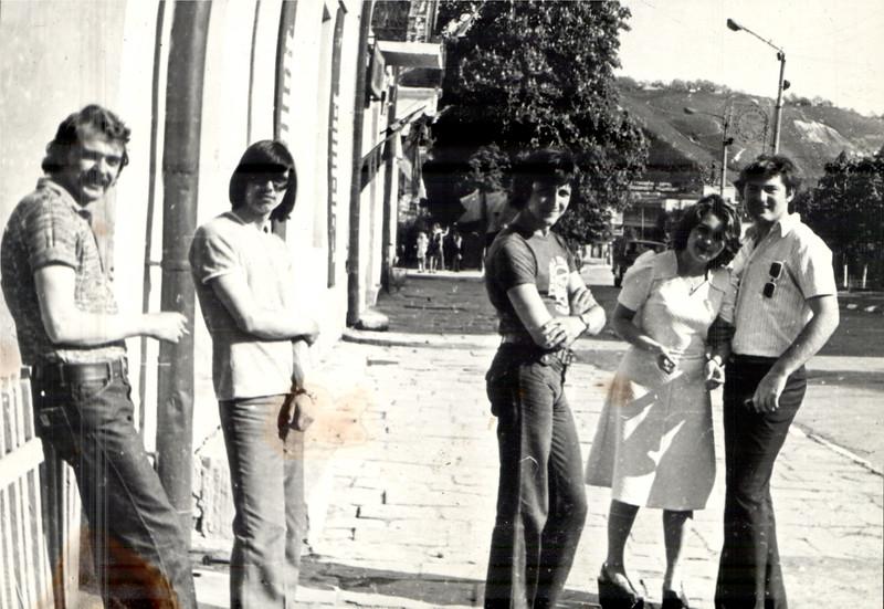 Іван Ільчук, Сергій Карпов, Василь Лопух, Орися Кабачій (Штокалюк) і Володимир Кабачій. 1977