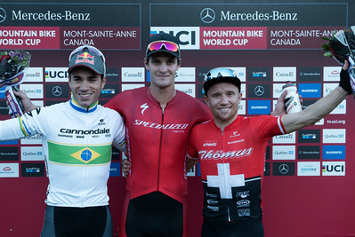 Cross-Country Short Track from left:  Henrique Avancini (Bra) Cannondale Factory Racing XC /  Samuel Gaze (NZl) Specialized Racing /  Mathias Flueckiger (Sui) Thömus-RN Racing Team