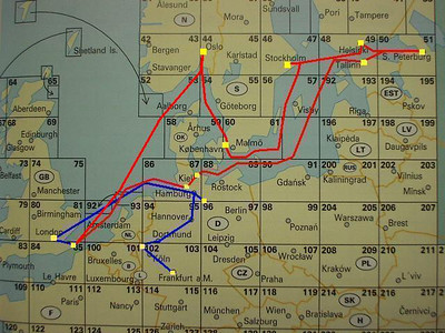 "Our route.  Blue is the initial overland trek.  The red is via the vessel, ""Norwegian Dream"""