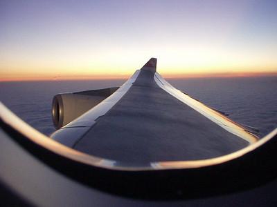 LA Sunset, en route to Zurich on SwissAir to start our 2004 adventure.