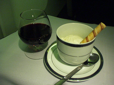 Port wine, vanilla ice cream in flight.  MMMmmm!