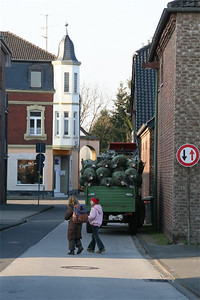Notice the Christmas trees on the trailer.  In Germany, the tree is usually only decorated days before Christmas.