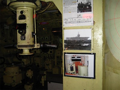 "Periscope is on the left, still operational!  Notice the image of the aircraft carrier.  That's an American carrier within attack distance.  The image was taken through this periscope. Luckily, ""Skorpion"" never fired a shot in battle, only in practice."