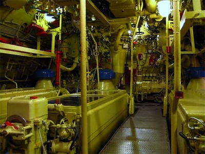 The diesels live here.  This engine room would hit 130 degrees on a regular basis.  Great if your in the Arctic, not so great if you're in tropical waters!