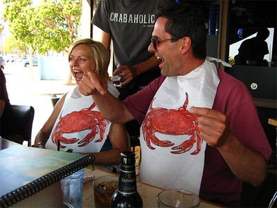 Later on at the Crab Shack - get your bib-on!