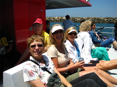 We made the noon water taxi right on time!  Seal Beach (Los Alamitos) to Shoreline Village, by the Queen Mary. (Chris in back, Karen, Julie and Kathy)