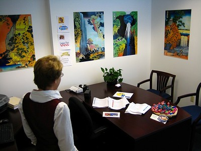 Admiring graphics in Sue's office!
