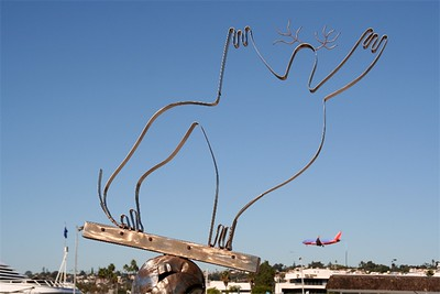 Waterfront art, note the low landing approach into San Diego International airport!
