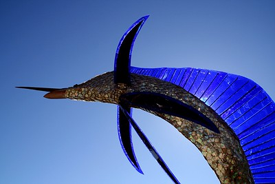 Waterfront art - backlit marlin!