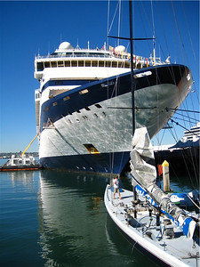 The Celebrity Mercury was docked as well.  She had experienced a passenger emergency, and was delayed into San Diego by one day.