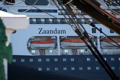 Zaandam from under the bowsprit of the Star of India.