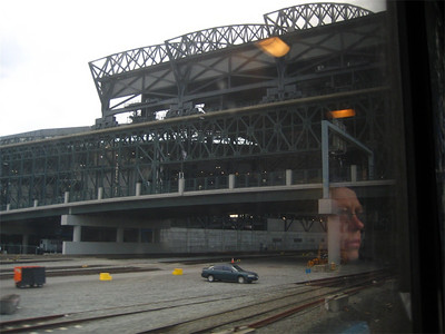 "Approaching Seattle, this is the stadium in Seattle.  The train passes under the roof when it's in the ""open"" position!"