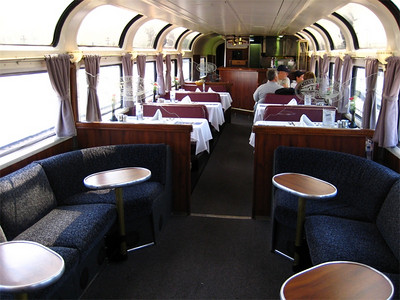 The upstairs of the Parlour Car!  It's designed for socializing, wine tastings, scenic viewing as well as meals and a bar.  This is a perk of having a sleeper cabin.  We used it and enjoyed it a lot!