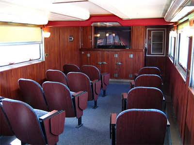"This is the movie theatre in downstairs of the ""Parlour Car""!  They show 2 movies per day!"