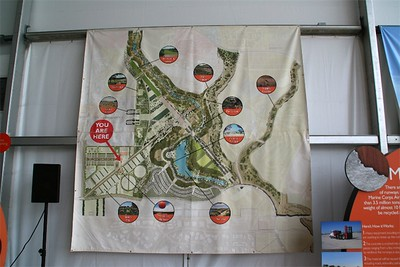 Inside the balloon visitors center, an overview map of the Great Park.  Some day.