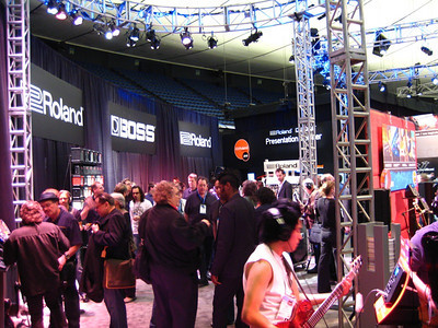 The northern end of the convention center is a smaller events arena with seating all around.  Roland US was in this arena - quite a setup!