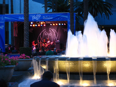 A view of the stage from behind the fountain.